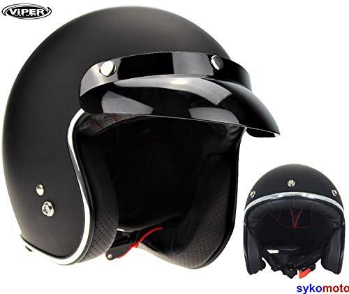 Viper rs-05Slim Skinny Fit Retro Custom Bobber Open Face Motorrad Helm - mattes schwarz - L