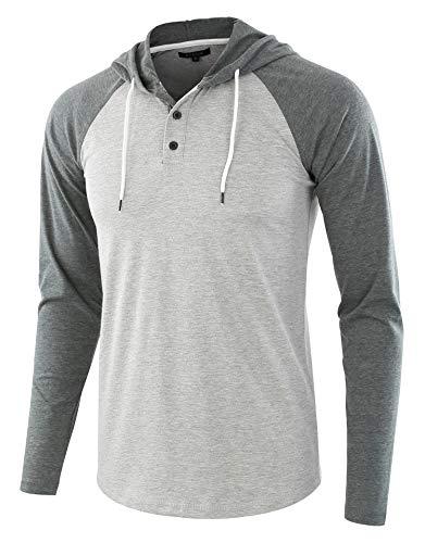 HETHCODE Men's Casual Lightweight Long Sleeve Raglan Henley Jersey Hoodie Shirt H.Gray/S.Green M