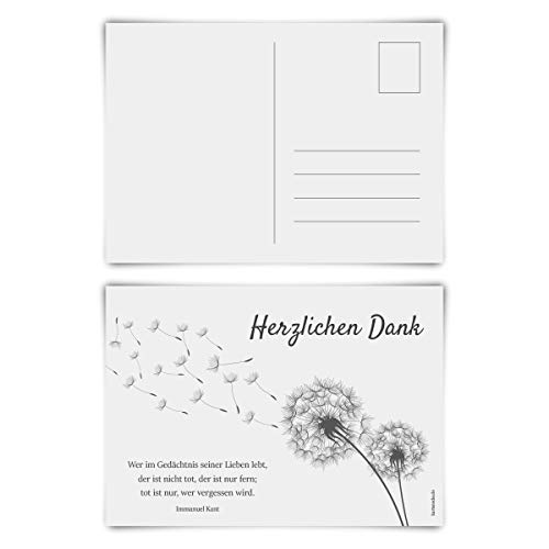 Trauerkarten Trauer Danksagungen 12 Stück Karten Set - Pusteblume Postkarten