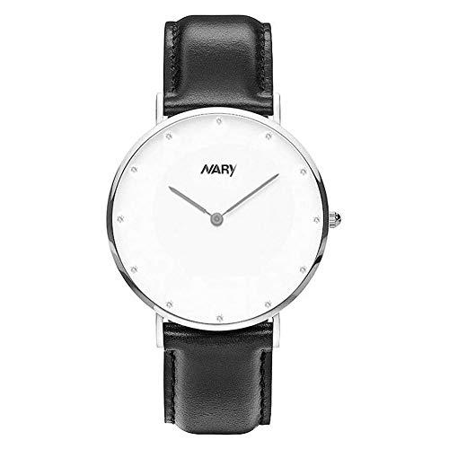 Dilwe Runde Armbanduhr, modische Qualitäts Paar Quarzwerk Armbanduhr mit verstellbar PU Lederband(Herren-Silber+Schwarz)