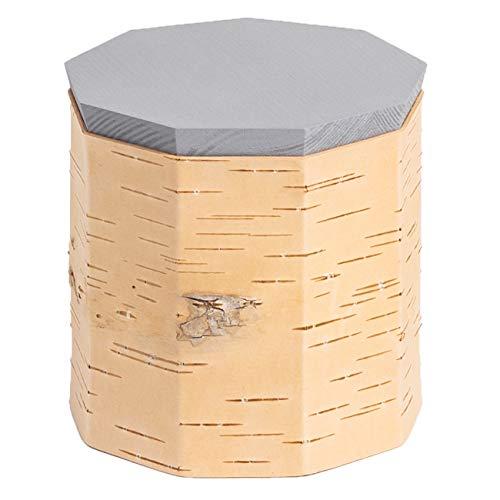MOYA Vorratsdose/Frischhaltedose aus natürlicher Birkenrinde – antibakterielle und feuchtigkeitsabweisende Aufbewahrungsbox mit Holz-Deckel – Kaffee-Tee-Zucker-Müsli-Dose 12x12x12cm / Grau