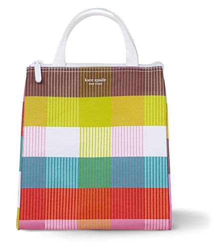 Kate Spade New York Portable Soft Cooler Lunch Bag with Silver Insulated Interior Lining and Storage Pocket, Rainbow Plaid