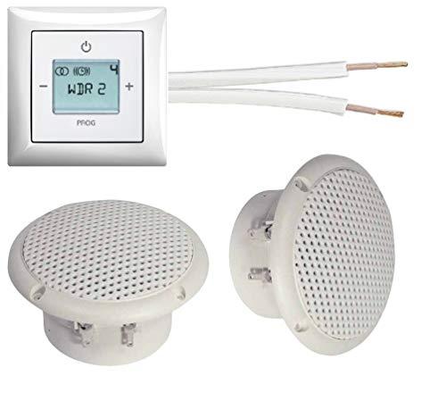 Busch Jäger Unterputz Radio Unterputzradio 8215 U (8215U) alpinweiß Komplett-Set Balance SI + 2 x Deckenlautsprecher (Feuchtraum/Badezimmer) Einbaulautsprecher + 20 m Lautsprecherkabel