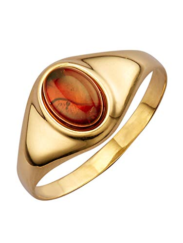 KLiNGEL Damen 333 Gelbgold Ring in Braunmit Bernstein in Braun und in und in
