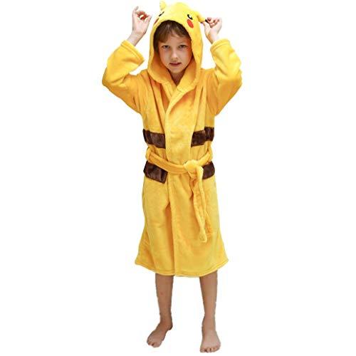 LuckyBaby Kinder Pikachu Bademäntel Kapuzen Tier Bademantel, Mädchen Jungen PikachuKostüm Morgen Hausmantel Nachtwäsche Pyjamas Taschen (Gelb, 115-135)