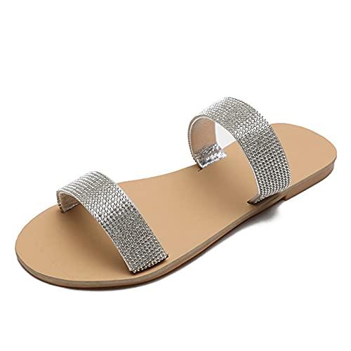 Zapatillas de Roma para mujer, zapatos de piscina con diamantes de imitación al aire libre con punta abierta para nadar, zapatillas de ducha planas para baño de verano y primavera informales