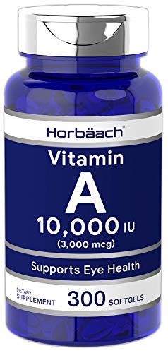 Horbaach Vitamin A 10000 IU (300 Softgels) | Premium Non-GMO, Gluten Free Supplement