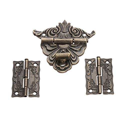 Padlock Latch 2Pcs Antique Bronze Cabinet Hinges with Jewelry Wooden Box Toggle Hasp Latch Clasp Vintage Hardware Set Furniture Accessories