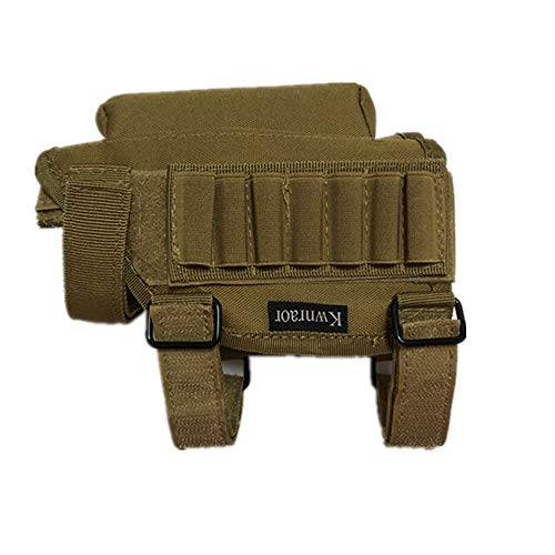Kwnraor Rifle Cheek Riser, Tactical Rifle Buttstock Cheek Rest Pad with 7 Rifle Stocks Holder for 308 - .300Winmag (Khaki)