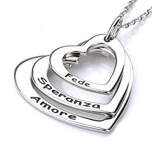 XQAQW Cochecito de Plata esterlina 925 de Mujer 3 Collar de corazón Nombre Grabado Amor Colgante Cadena de San Valentín -45Cm_and_5Cm