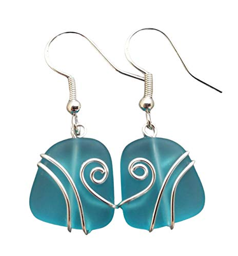 Handmade in Hawaii, wire wrapped turquoise bay blue sea glass earrings,'December Birthstone', (Hawaii Gift Wrapped, Customizable Gift Message)