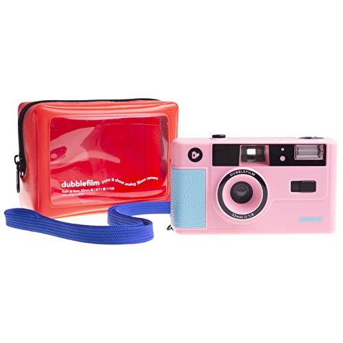Dubblefilm Show - Fotocamera analogica da 35 mm con flash Point & Shoot | Fotocamera analogica riutilizzabile con custodia Nähe di Hightide Japan e istruzioni stampate da Jose A. Roda (Rosa)