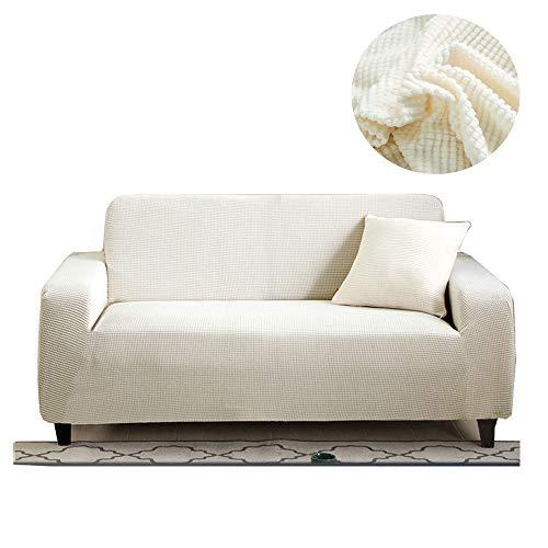FZ FUTURE Stretch Sofabezüge Couch Cover, Möbel-Schutz-Sofa Slipcover zeichnen Sich durch hohe Spandex Strukturierter Kleine Checks Jacquard-Gewebe mit Gummibündchen,Weiß,2seater 140~180cm