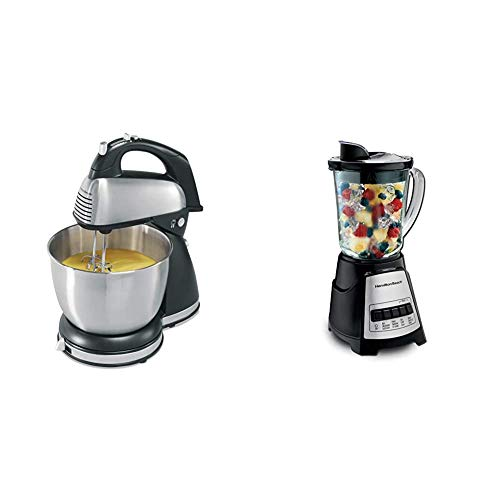Hamilton Beach Classic Hand and Stand Mixer Black and Stainless & Power Elite Blender with 12 Functions and 40oz BPA Free Glass Jar, Black and Stainless Steel
