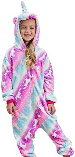 DRESHOW Weiche Mädchen Einhorn Bademantel Nachtwäsche Komfortable Onesie Tier Schlafanzug Pyjamas Kostüm für Kinder,Pajamas Pink Galaxy Unicorns,140