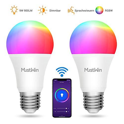 MustWin Smart Lampen 2er Alexa Glühbirne 9W zu Weihnachten WLAN LED Lampe E27 RGBW Birne 900LM Dimmbar durch APP Fernbedienung mit Timing, Kompatibel mit Alexa Google Home Warmweiß