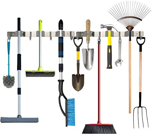 Piyl Broom Mop Holder Wall Mount Metal Tool Organizer Heavy Duty Holds Up to 30 lbs Home Garage product image
