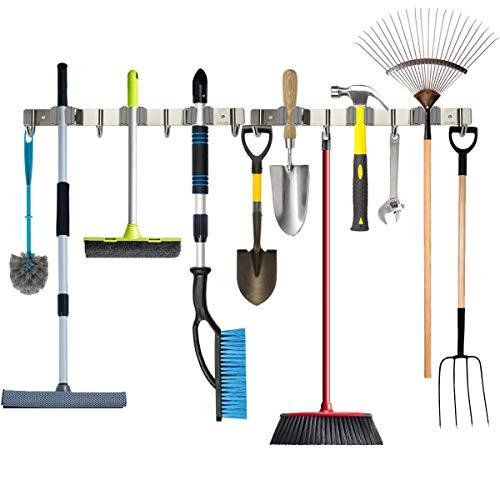 Piyl Broom Mop Holder Wall Mount Metal Tool Organizer Heavy Duty Holds Up to 30 lbs Home Garage Garden Hooks Hanger Rack Storage 2packs
