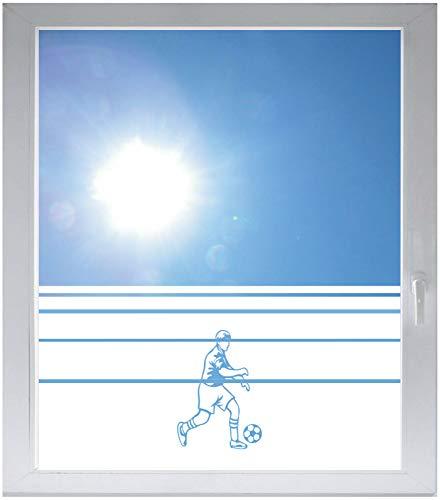 INDIGOS UG Sichtschutzfolie Glasdekorfolie Fensterfolie mit Motiv satiniert Blickdicht - w739 Fußballer - 1200 mm Länge - 500 mm Höhe Streifen