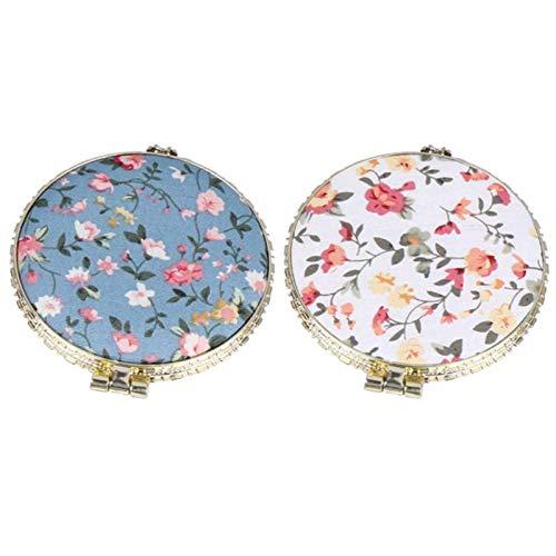 LXCDCH 2 Stück Tragbarer Taschenspiegel Retro Taschenspiegel Runder Kleiner Schmink Spiegel Doppelseitiger Spiegel Faltbarer Schmink Spiegel Blaues Keramik Traditionelle Chinesische Design