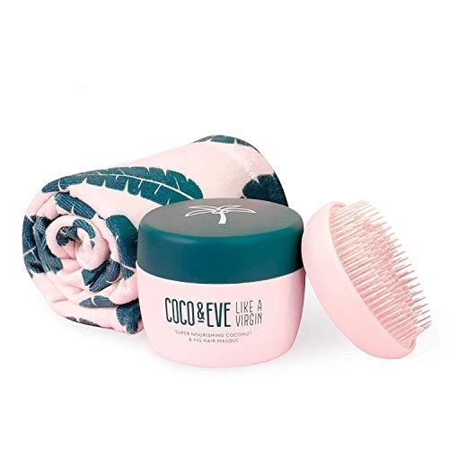 Coco & Eve That's A Wrap Set - Maschera Capelli, Spazzola Districante e Asciugamano in Microfibra | prodotti per la cura dei capelli | maschera capelli ricci professionale