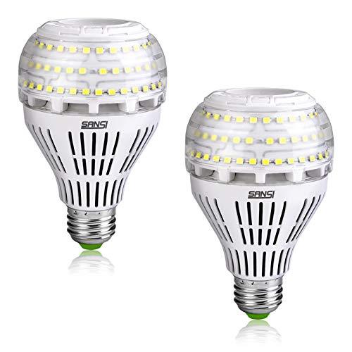 SANSI E27 LED Kaltweiß Lampe, 27W (ersetzt 250W Glühbirne) LED Leuchtmittel, 5000 Kelvin 4000 Lumen, Nicht Dimmbar Birne, Superhell LED Leuchtmittel für Küche, Werkstatt, Garage, Hof, 2er-Pack