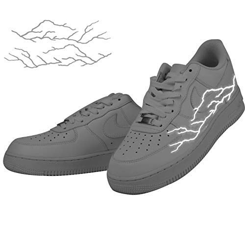 Reflective Lightning Iron on Patches Stickers For Custom Air Force 1,Perfect Decal for Custom AF1 Boots(4pcs)
