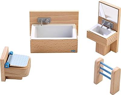 "HABA Little Friends Bathroom Set - Wooden Dollhouse Furniture for 4"" Bendy Dolls"