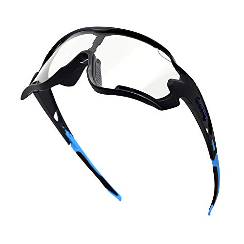 KAPVOE Photochromic Cycling Glasses Sports Sunglasses - Safty Transition Bicycle Goggles Glasses Fishing Golf Baseball Running Mountain Climbing Glasses Tr90 Frame 100% Uv400 Protection (Black Blue)