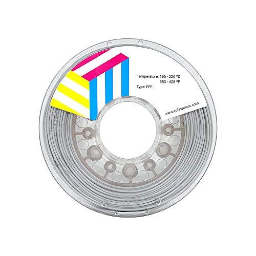 Eolas Prints | Filamento PLA + INGEO 870 | Impresora 3D | Fabricado en España | Apto para usar con alimentos y crear juguetes | 1,75mm | 1Kg | Gris
