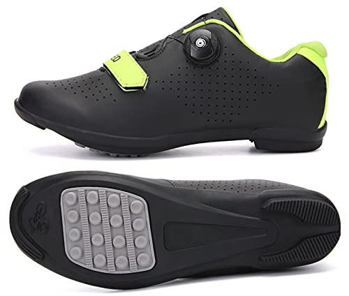 Scarpe da ciclismo da uomo e da donna con tacchetti compatibili con SPD e Delta Lock Pedale Outdoor e Indoor Bicicletta Scarpe da equitazione Traspiranti Peloton, Nero Verde R, 46 EU