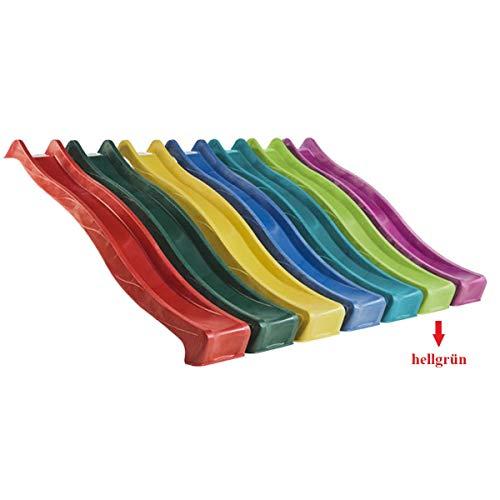 Gartenwelt Riegelsberger Wellenrutsche Rutsche 300 cm HELLGRÜN Tüv-geprüft Anbaurutsche für Podesthöhe 150 cm für Spielturm oder Schaukel