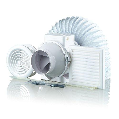Blauberg UK 100-1 Vents TT-Bathroom Shower Fan Kit 100mm with Timer, 240 V, White