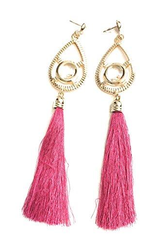 Pendientes largos de fiesta, color fucsia y rosa fuerte con borla y gota