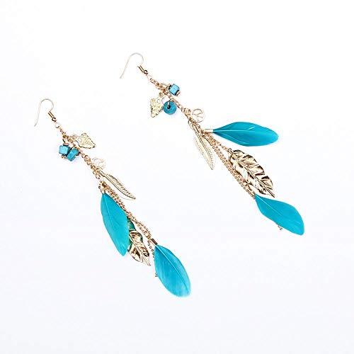 YANGYUAN Pendientes de la Pluma, Pendientes de la Pluma de la Borla de la Vendimia del Collar Pendientes del Gancho Colgante Pendientes de Las Mujeres, 1 par (Color : Blue)