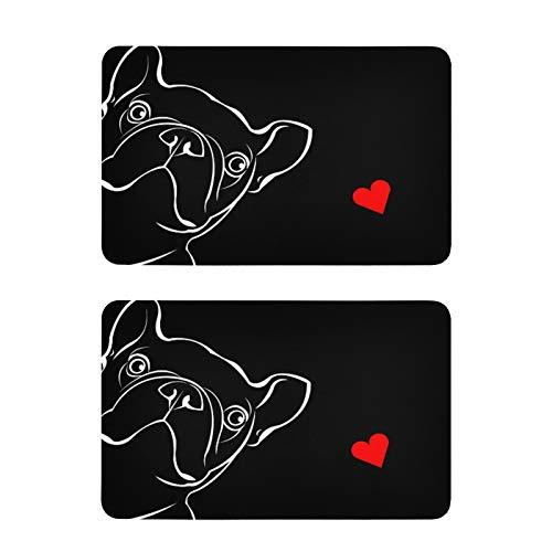 ALAZA Bulldog Puppy Dog French Black Refrigerator Magnets 2 Piece Decorative Fridge Whiteboard Kitchen Office Magnets