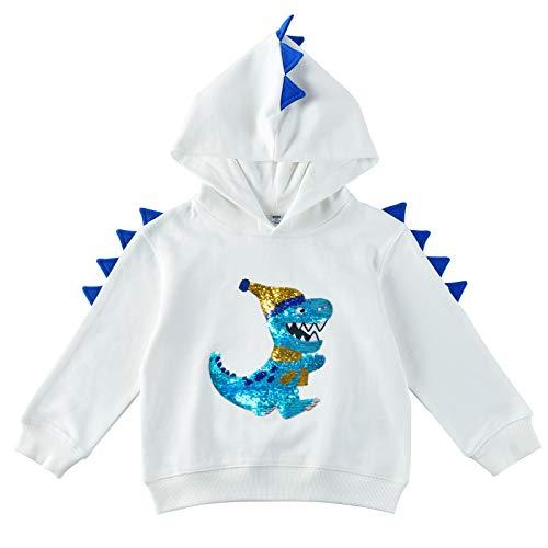 WAWSAM Felpa Dinosauro Felpe Cappuccio per Ragazzi con Paillettes Reversibili Bianco 100% Cotone Pullover Activewear Sweatshirt a Maniche Lunghe per Bambino (Bianca, 3 Anni)