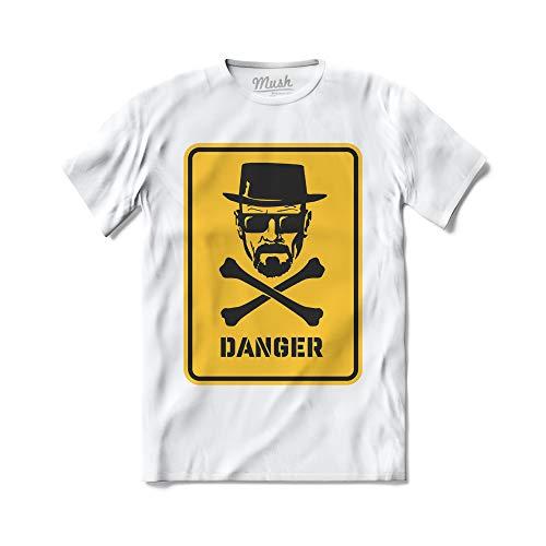 Mush dressyourstyle Camiseta Heisenberg Danger Hombre - TV Series Netflix - Camiseta de manga corta 100% algodón orgánico blanco S