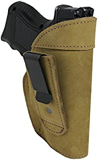 Barsony New Olive Drab Leather Tuckable IWB Holster for Compact Sub-Compact 9mm 40 45