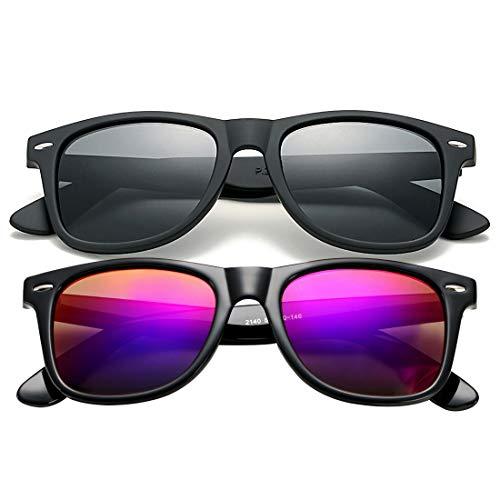 COASION Gafas de sol polarizadas clásicas hombres y mujeres, estilo retro UV400, (Matte Black Frame/Grey Lens + Bright Black Frame/Purple Mirror Lens), Medium
