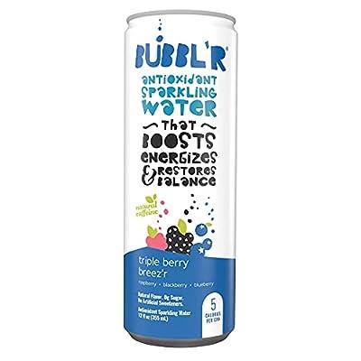 triple berry breez'r - BUBBL'R Antioxidant Sparkling Water, 12fl oz cans, pack of 12