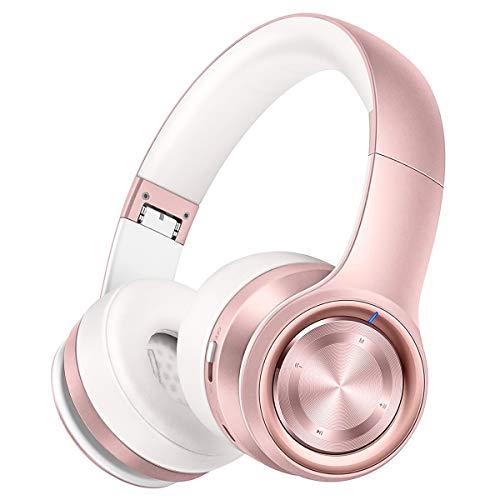 P26 Auriculares Bluetooth, Over Ear 80H de Reproducción Hi-Fi Sonido Estéreo, Bajo Profundo Cable/Inalámbrico/TF, Plegable Inalámbricos Auriculares de Bluetooth 5.0 con Micrófono para Teléfono/TV