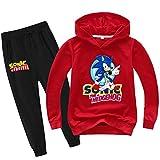 Photo de SUPFANS Sweat à capuche et pantalon de survêtement Sonic The Hedgehog pour garçon - Rouge - 6 ans