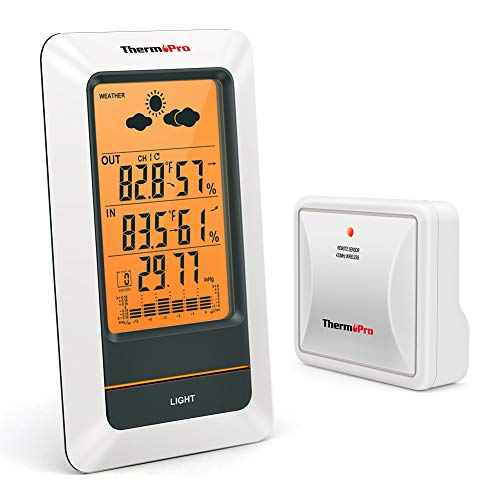 ThermoPro TP67A Waterproof Weather Station Wireless Indoor Outdoor Thermometer Digital Hygrometer...