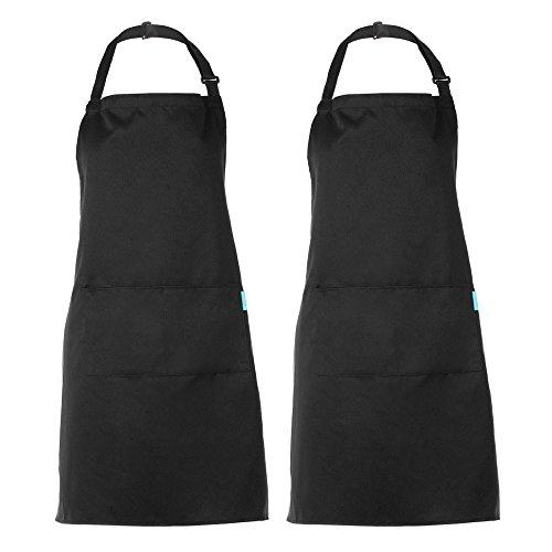 esonmus Schürze Kochschürze Küchenschürze 2 Set mit 2 Taschen Latzschürze kochschürze für Frauen Männer Chef verstellbarem Nackenband Schwarz