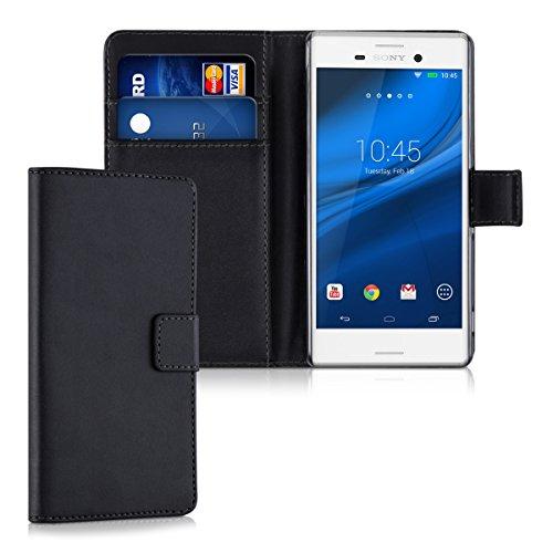 kwmobile Hülle kompatibel mit Sony Xperia M4 Aqua - Kunstleder Wallet Case mit Kartenfächern Stand in Schwarz