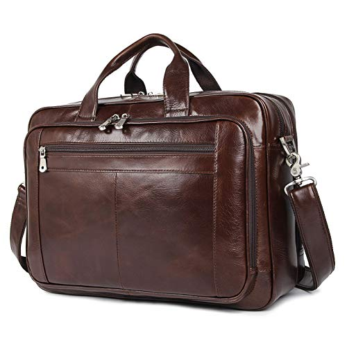 Augus Leather Briefcases for Men, Waterproof Travel Messenger Duffle Bags 17 Inch Laptop Bag (cofee-1)