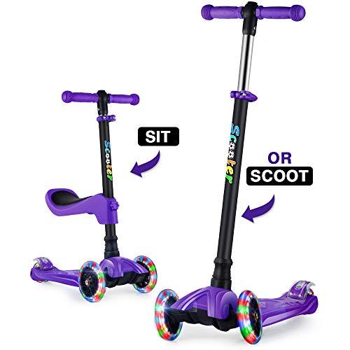 GOOGO Monopattino a Tre Ruote per Bambini con Sedile età 2-13 Anni Kick 3 Ruote Scooter con Ruote a...
