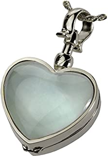 Memorial Gallery Victorian Glass Heart Locket Cremation Jewelry