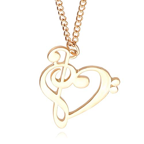 AILUOR Women's Minimalist Simple Fashion Gold Silver Hollow Love Heart Shaped Music Musical Note Symbol Pendant Necklace Jewelry for Women (Gold)